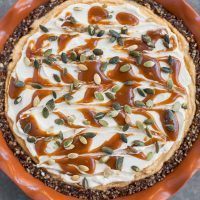 Pumpkin Caramel Cheesecake Pie (Gluten-free, No-bake)