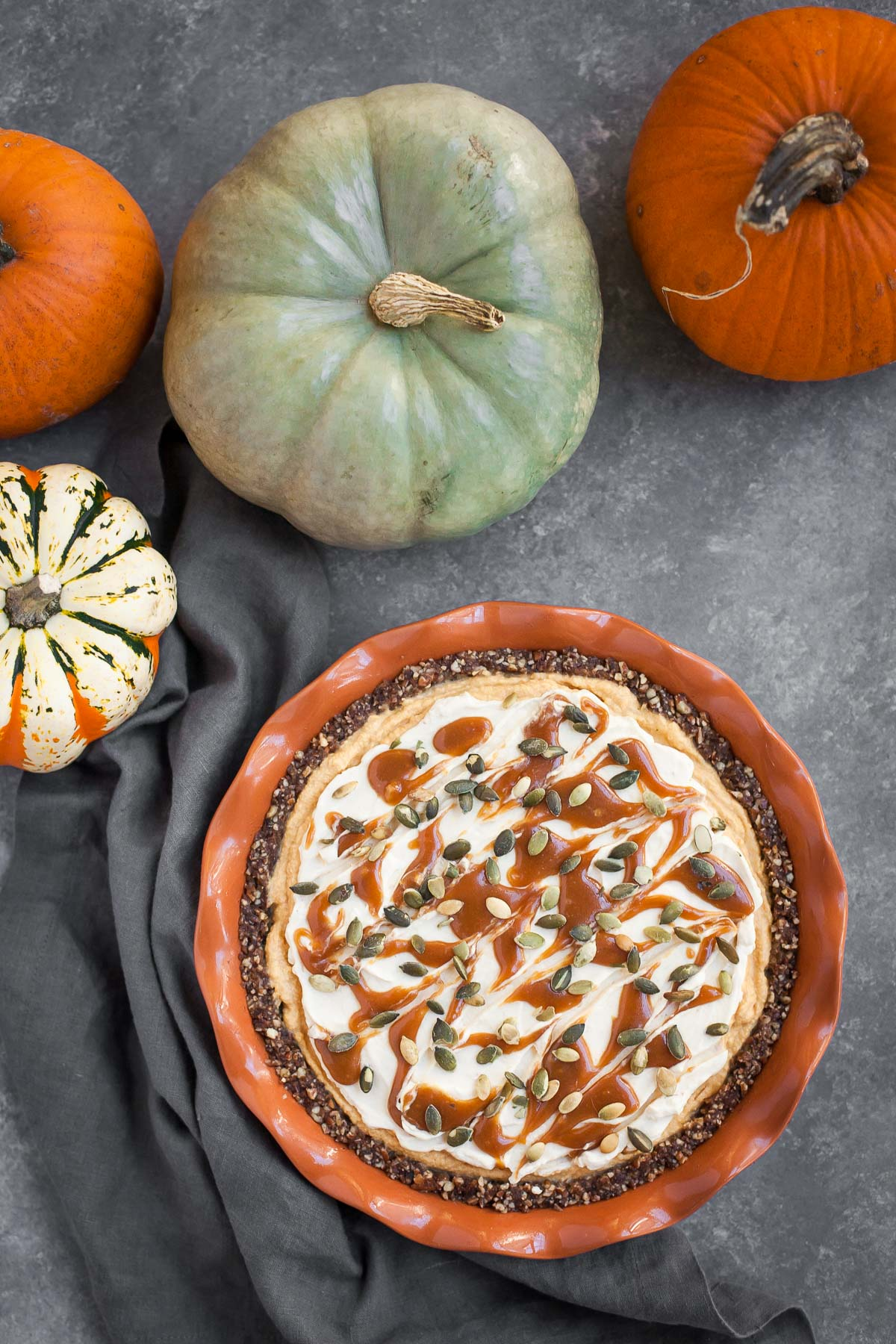 Pumpkin Caramel Cheesecake Pie (Gluten free, No bake)