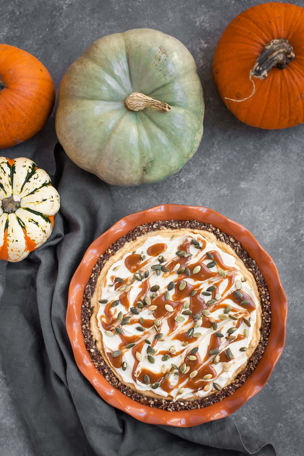 Pumpkin Caramel Cheesecake Pie (Gluten free, No bake)
