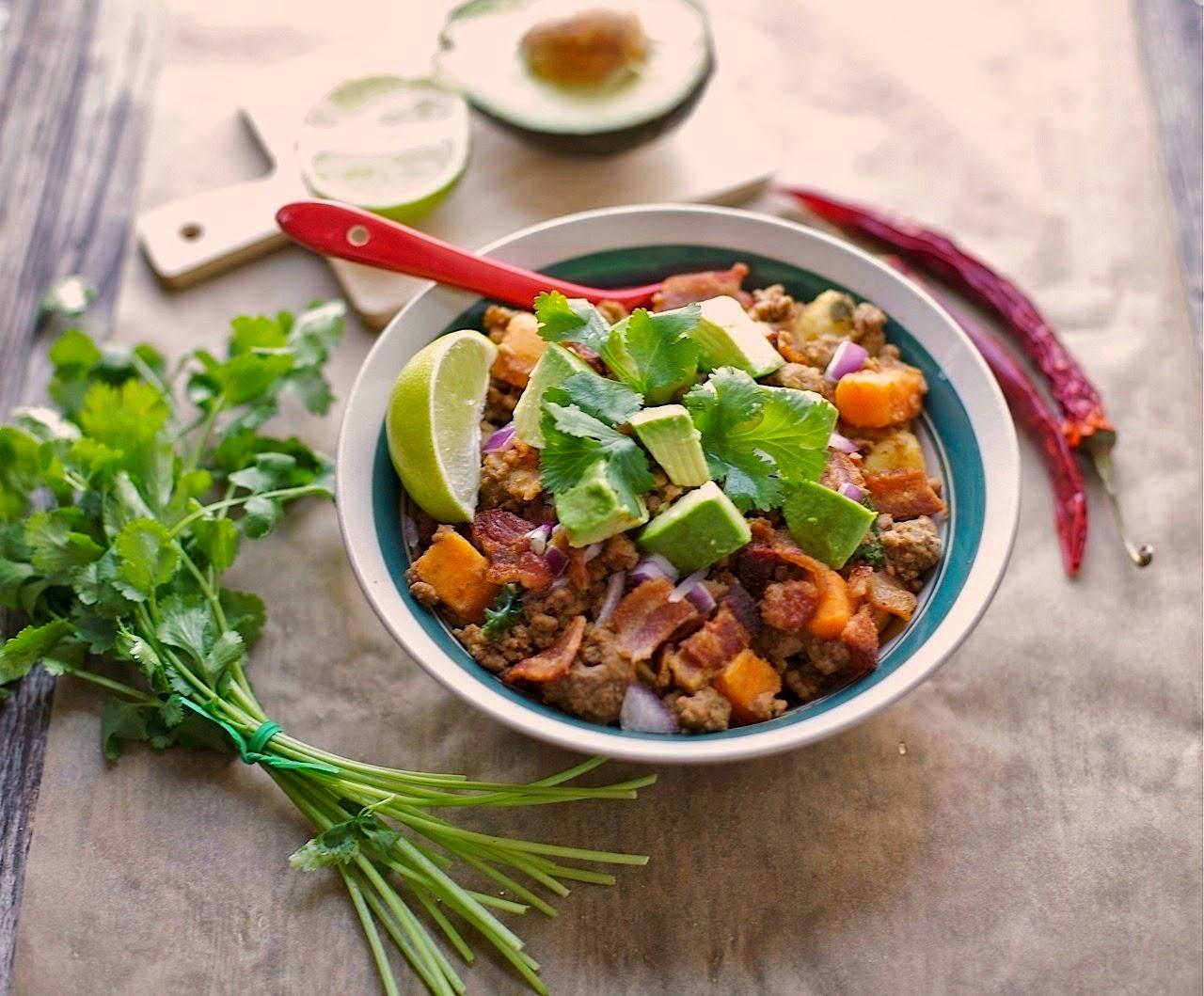 Bacon & Sweet Potato Chili (Gluten free, Paleo) | acalculatedwhisk.com