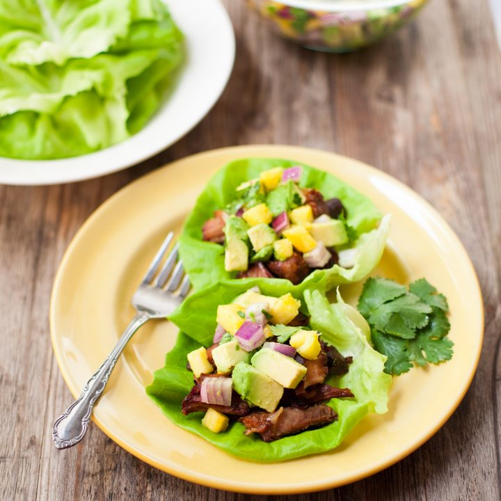 Slow-Cooker Carnitas Lettuce Wraps with Pineapple and Avocado Salsa (Paleo, Gluten free)