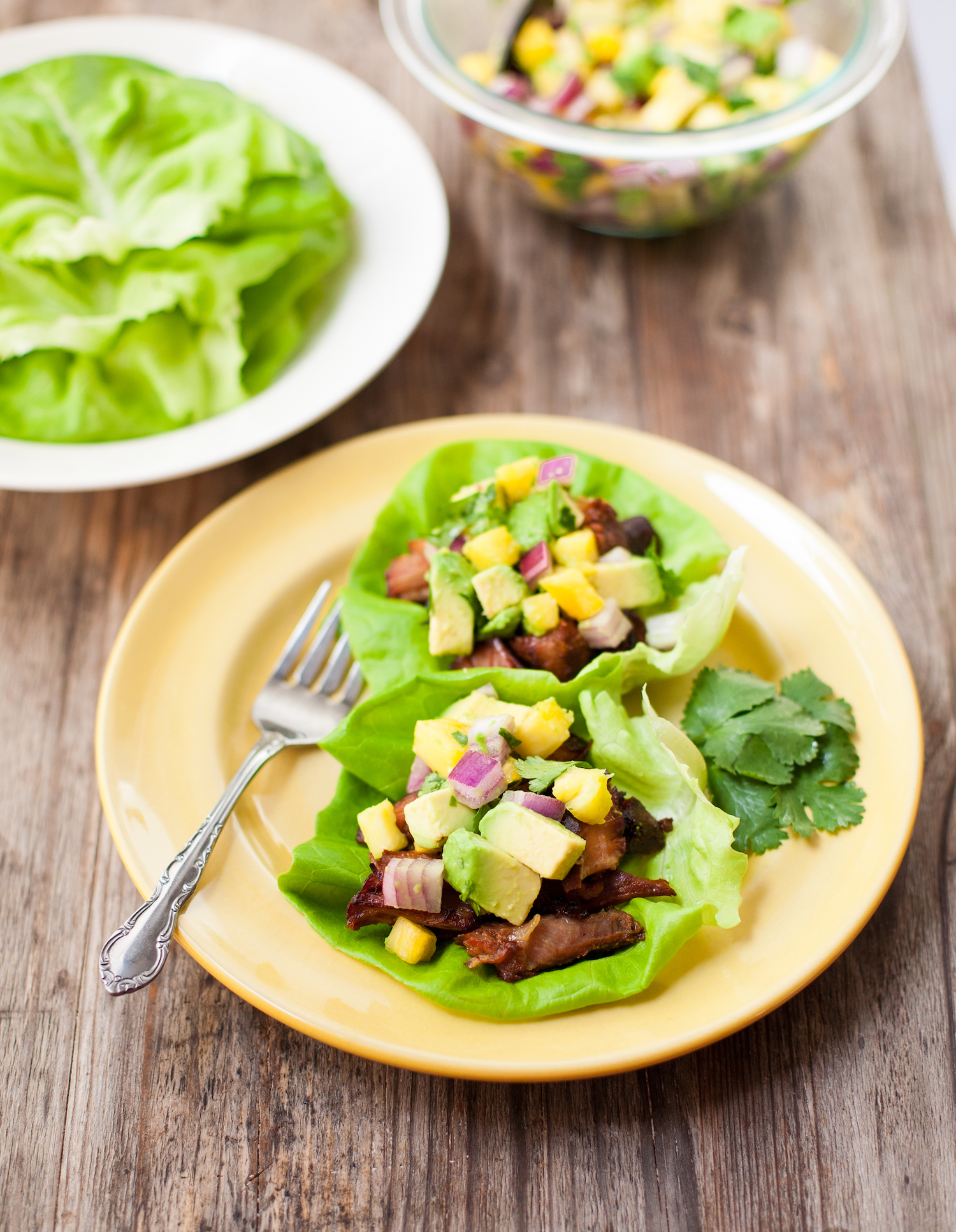 Slow-Cooker Carnitas Lettuce Wraps with Pineapple & Avocado Salsa - A Calculated Whisk