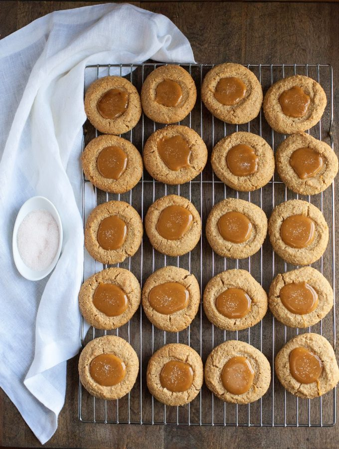 Almond Butter Thumbprints with Salted Caramel