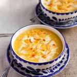 Butternut Squash Soup with Fried Garlic and Chile Oil