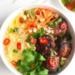 Vietnamese Caramelized Pork Meatball Vermicelli Bowl