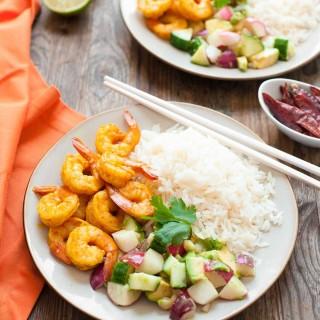 Burmese Chili Prawns with Cucumber and Avocado Salad (Paleo, Gluten free)