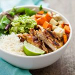 Grilled Adobo Chicken & Sweet Potato Bowl with Jicama Guacamole