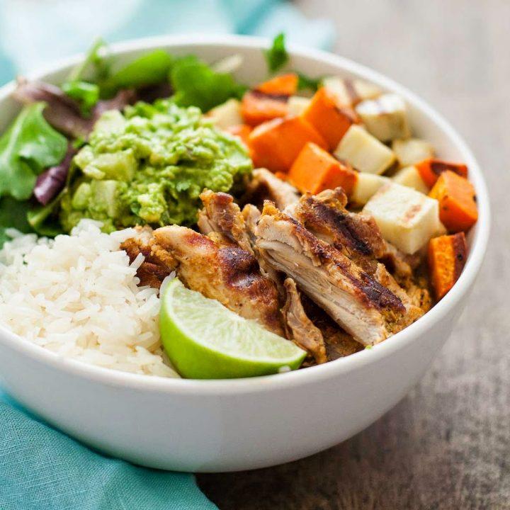 Grilled Adobo Chicken & Sweet Potato Bowl with Jicama Guacamole