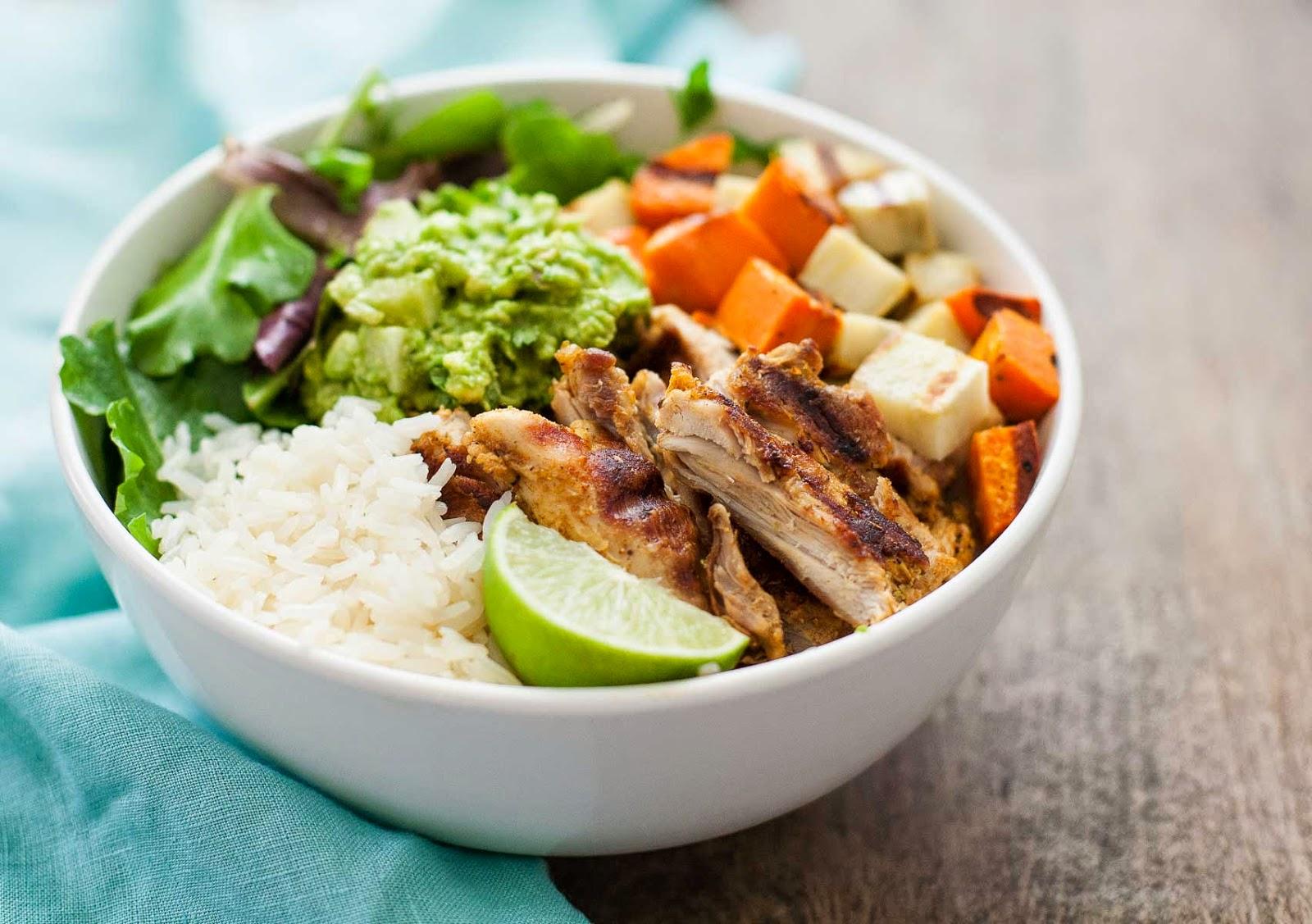 Grilled Adobo Chicken Sweet Potato Bowls With Jicama Guacamole