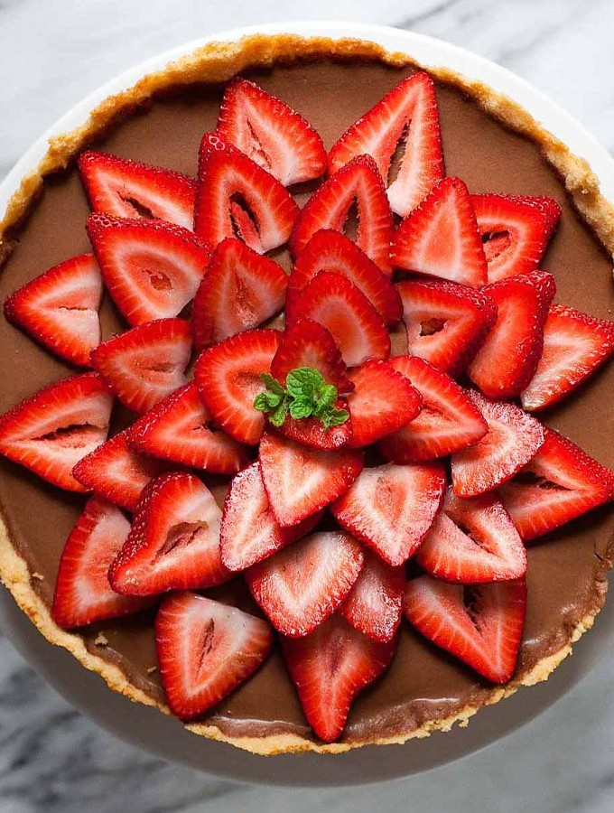 Mocha Ricotta Pie with Strawberries (Gluten free, Grain free)