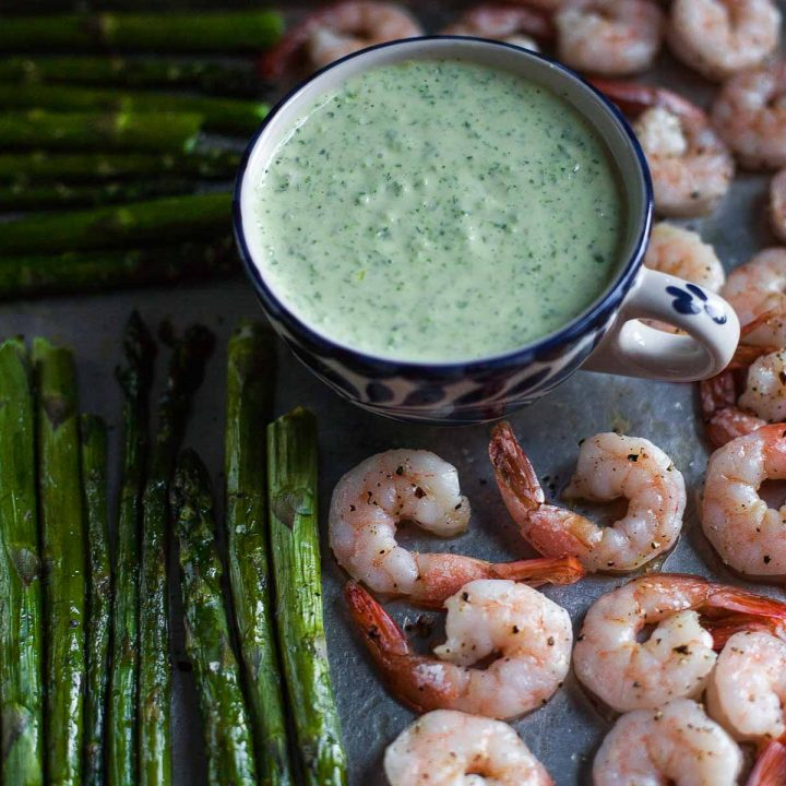 Roasted Shrimp and Asparagus with Green Goddess Dressing (Paleo, Whole30)