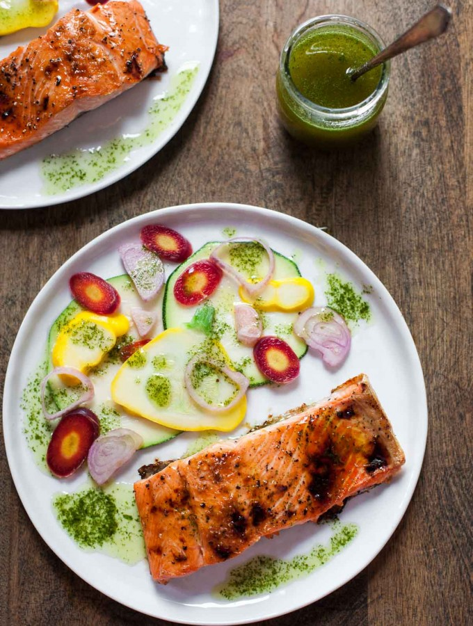 Caramelized Salmon with Basil Chile Oil and Quick-Pickled Vegetables (Paleo, Gluten free)