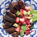 Mole-Spiced Hanger Steaks with Strawberry-Avocado Salsa
