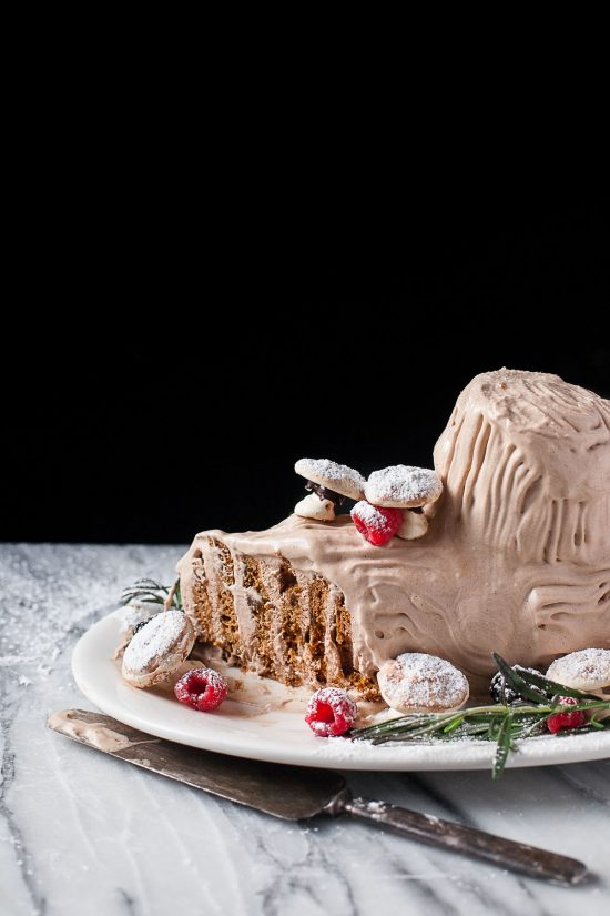 No-Bake Gingerbread Buche de Noel (Yule Log) #glutenfree