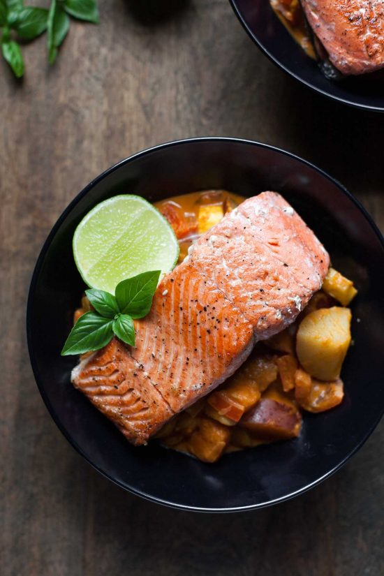 Top 16 Paleo Recipes of 2016: Seared Salmon with Red Curry Vegetables