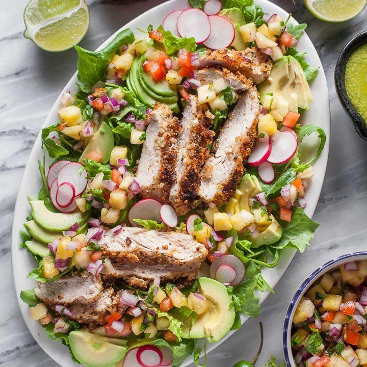 Crispy Chicken Salad with Pineapple Pico de Gallo
