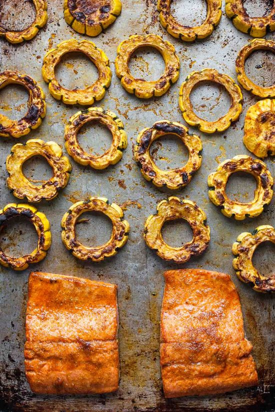 Sheet Pan Salmon and Delicata Squash #30MinuteMondays #glutenfree #paleo #whole30