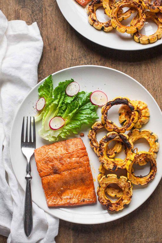 Sheet Pan Salmon and Delicata Squash #30MinuteMondays #glutenfree #paleo #whole30