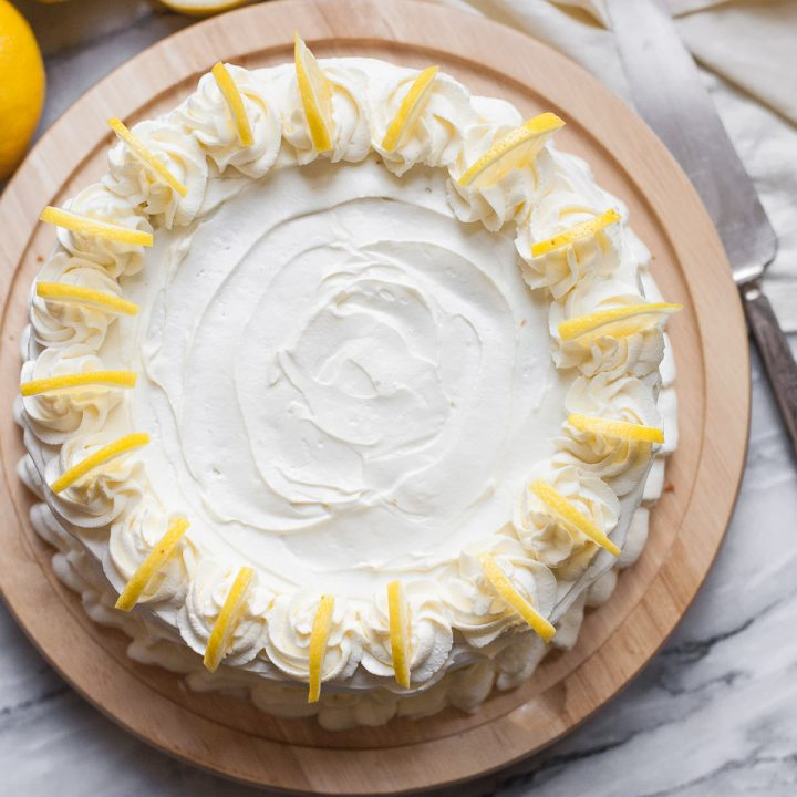 Grain-free Triple Lemon Layer Cake with Whipped Cream Frosting
