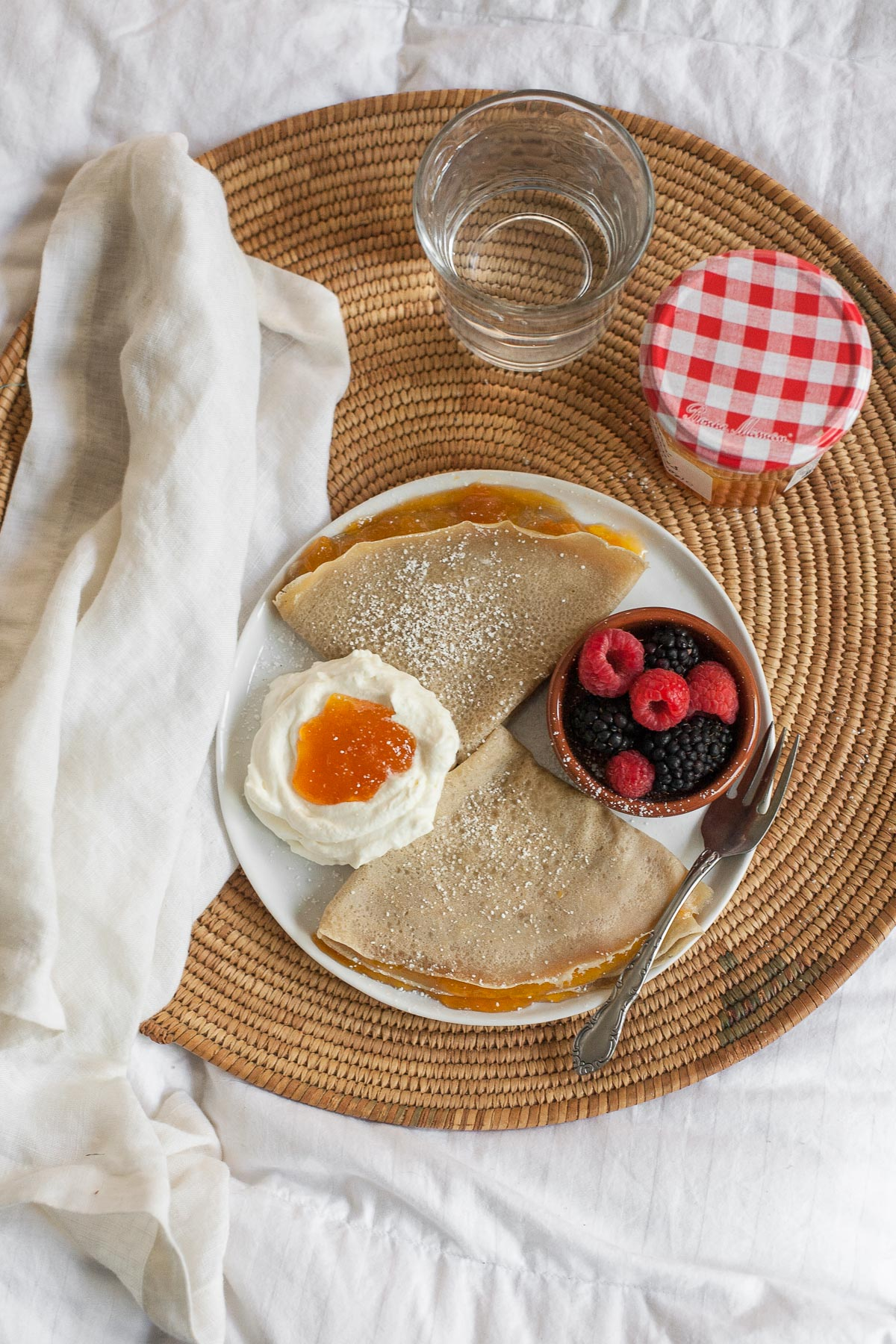 Grain-free Crepes with Apricot Preserves | acalculatedwhisk.com