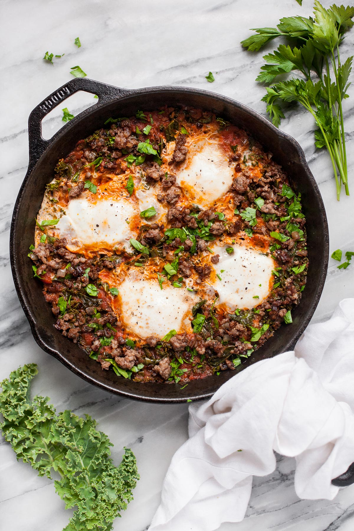 Eggs in Purgatory with Sausage and Kale (Paleo, Whole30)