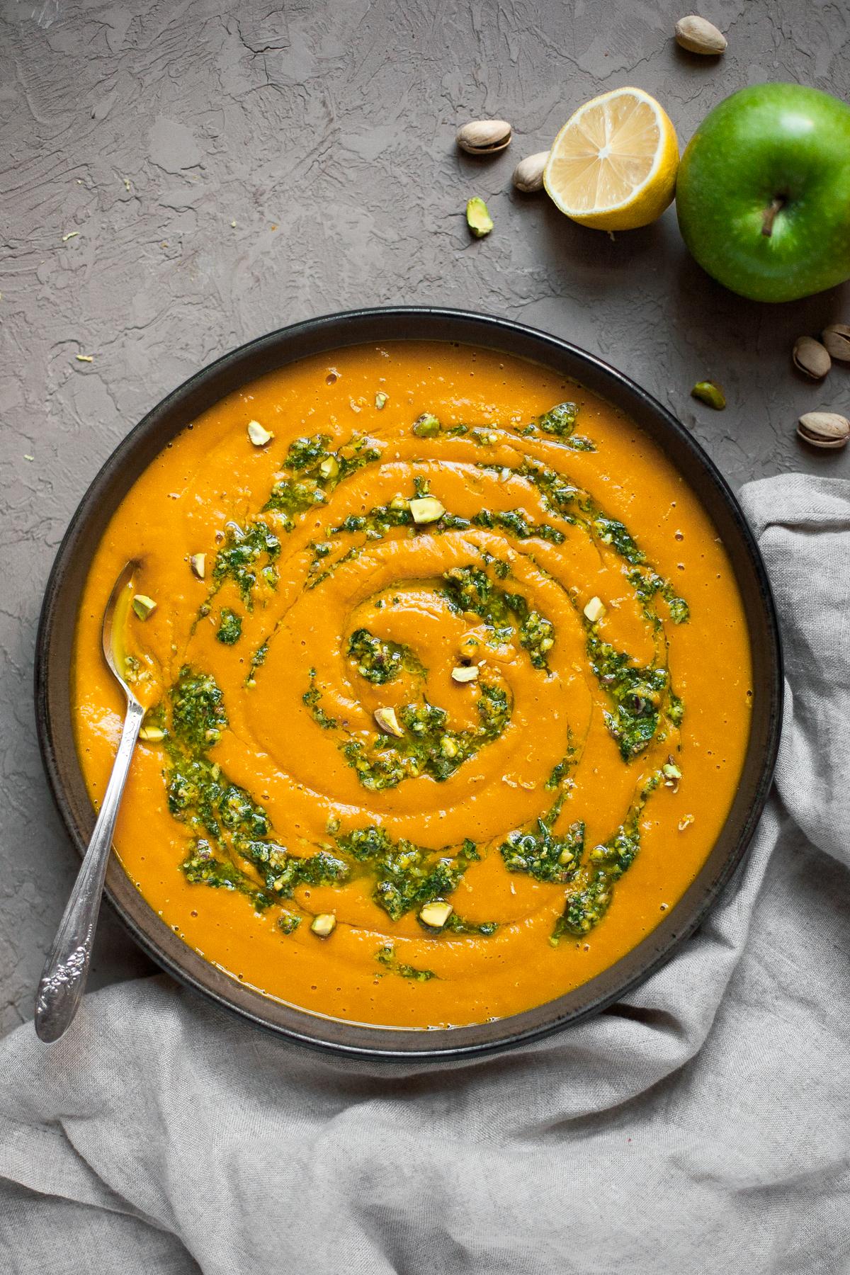 Hubbard Squash Soup with Pistachio Gremolata (Paleo, Whole30)