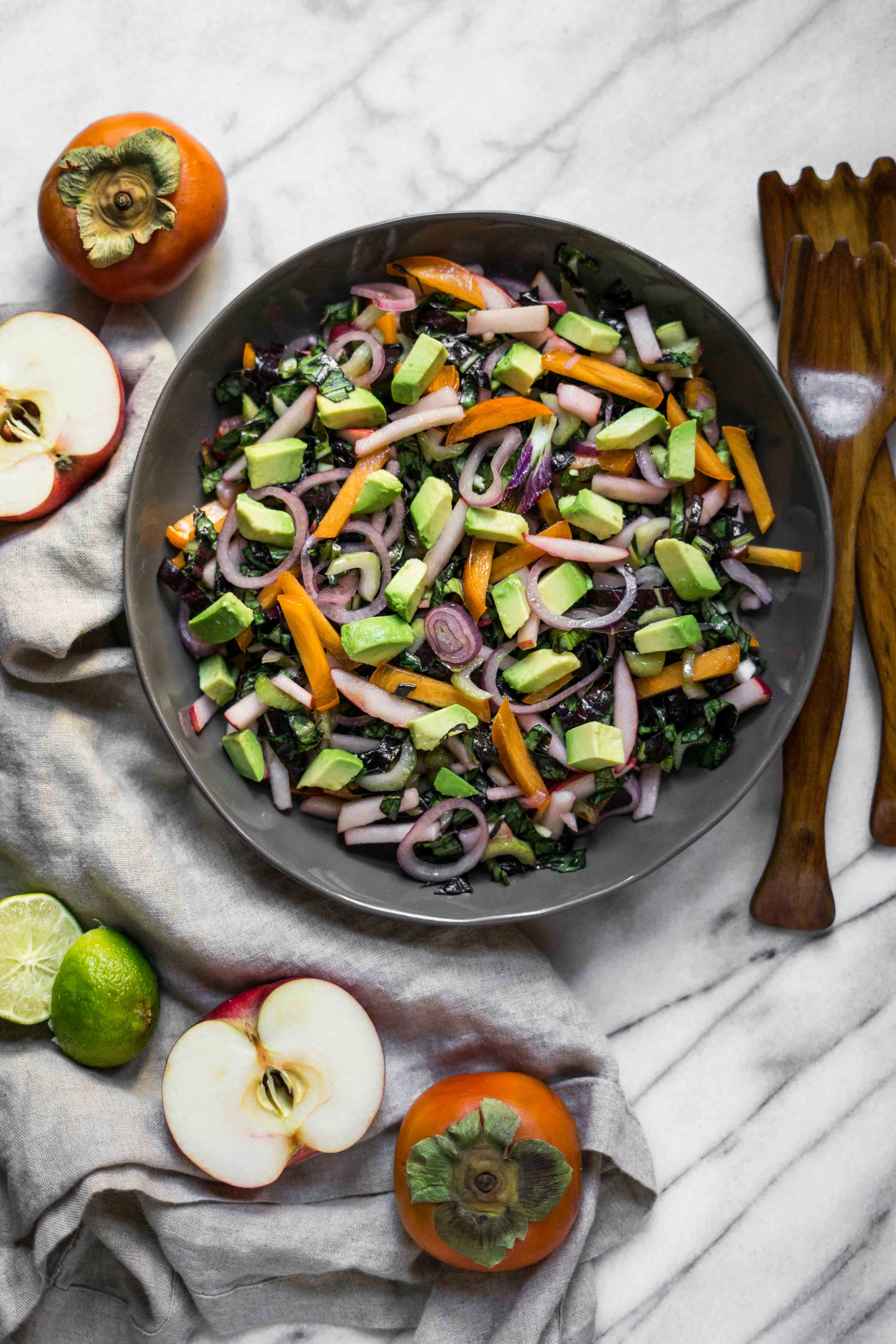 Bok Choy Salad with Apple and Persimmon (Paleo, Whole30)