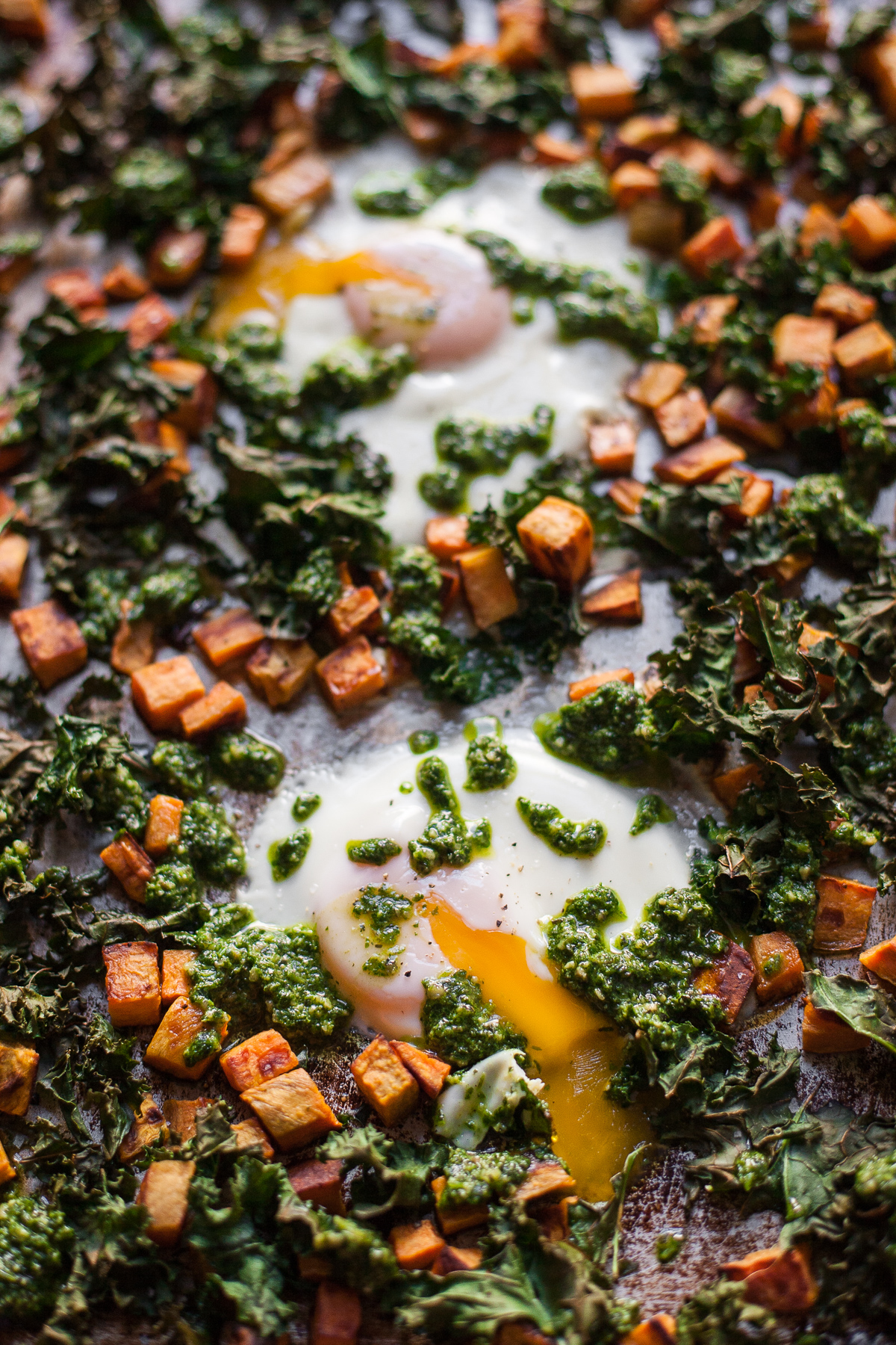 Sheet Pan Baked Eggs with Sweet Potatoes, Kale, & Cilantro ...