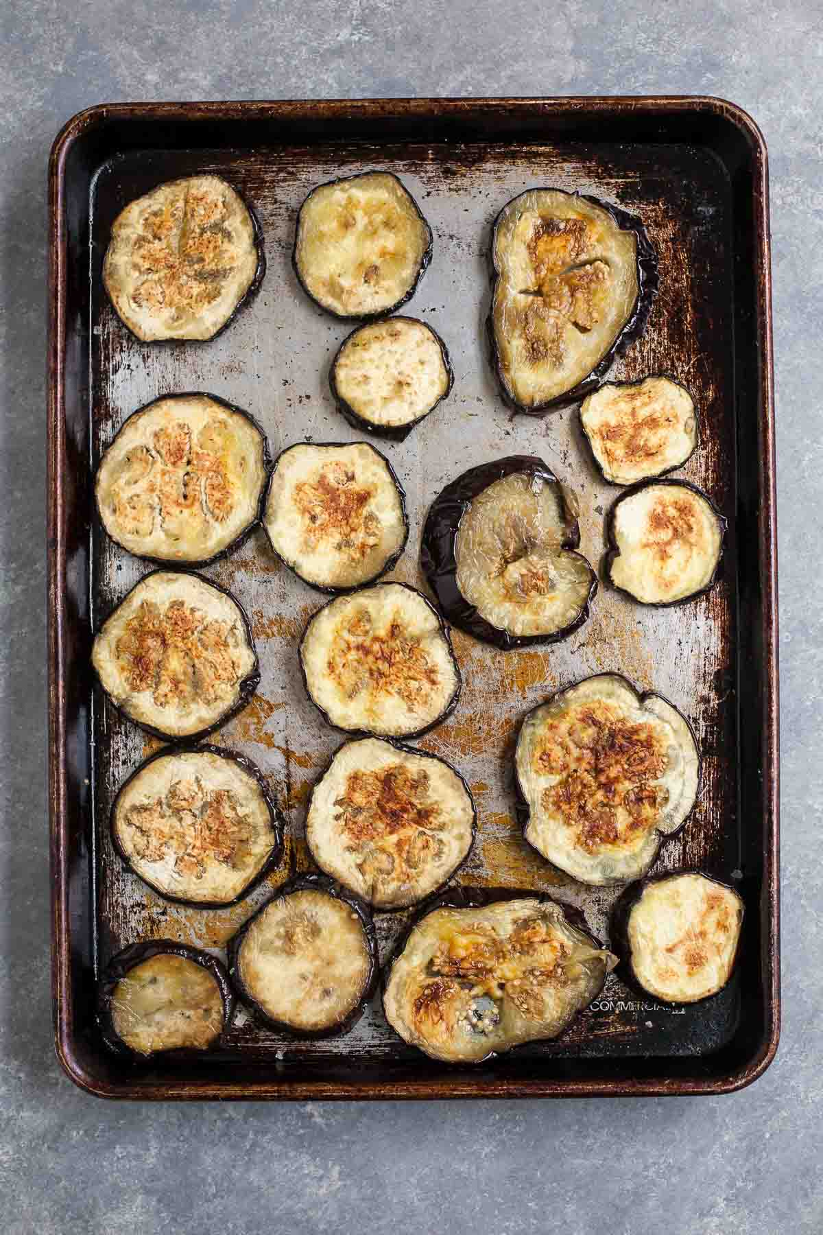 Roasted Eggplant for Baba Ganoush with Spiced Lamb & Mint