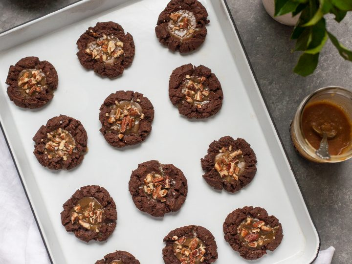 Chocolate Almond Butter Thumbprints With Maple Caramel Gluten Free Grain Free