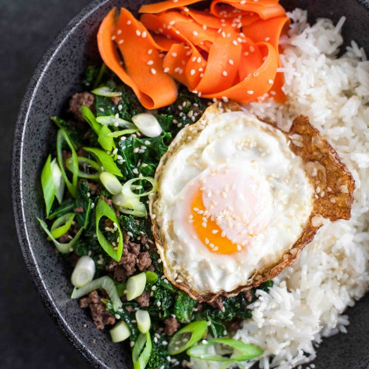 Sesame Kale and Beef Rice Bowls with Fried Eggs and Pickled Carrots