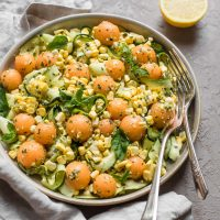 Cantaloupe, Corn, and Zucchini Salad with Lemony Pesto