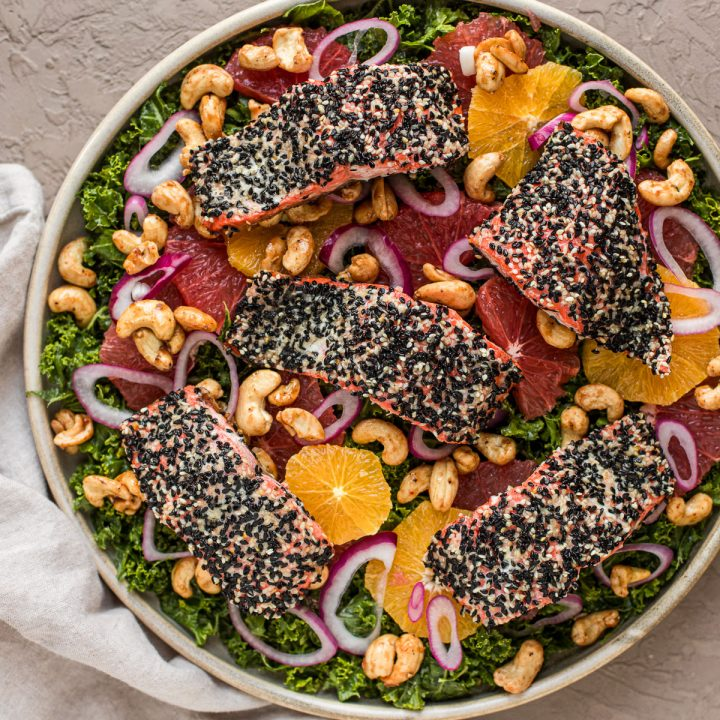 Sesame-Crusted Alaska Salmon Salad with Winter Citrus and Maple Sriracha Cashews