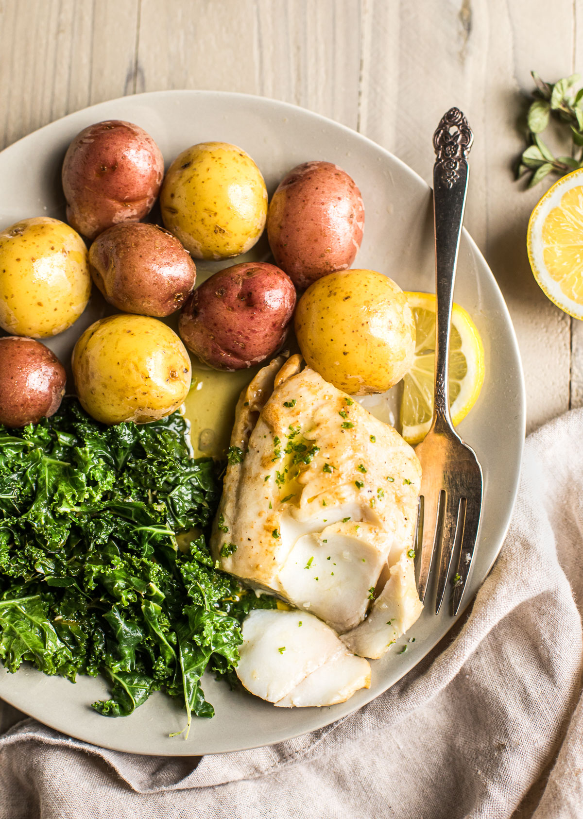Alaska Sablefish Poached in Brown Butter with Baby Potatoes & Kale