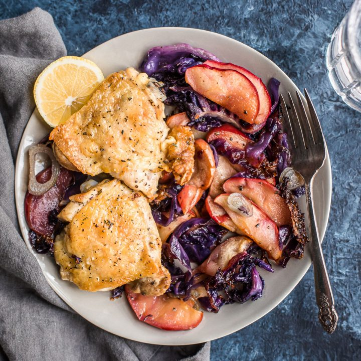 Sheet Pan Crispy Chicken Thighs with Cabbage and Apples