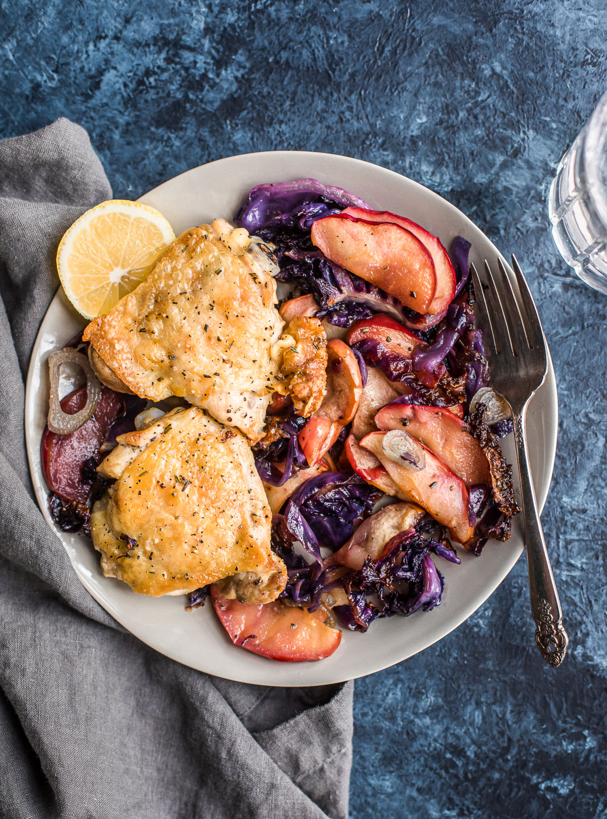 Sheet Pan Crispy Chicken Thighs with Cabbage & Apples