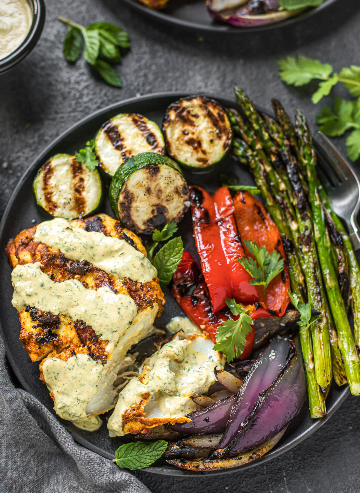 Tandoori-Spiced Alaska Halibut with Grilled Vegetables and Cilantro-Mint Raita