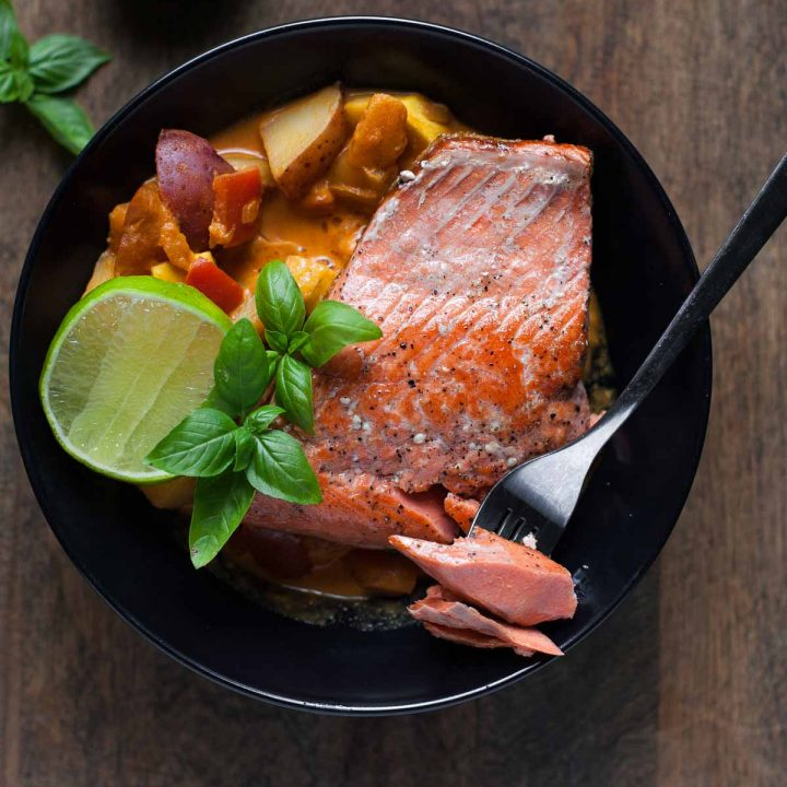 Seared Salmon with Red Curry Vegetables + A Fishpeople Giveaway