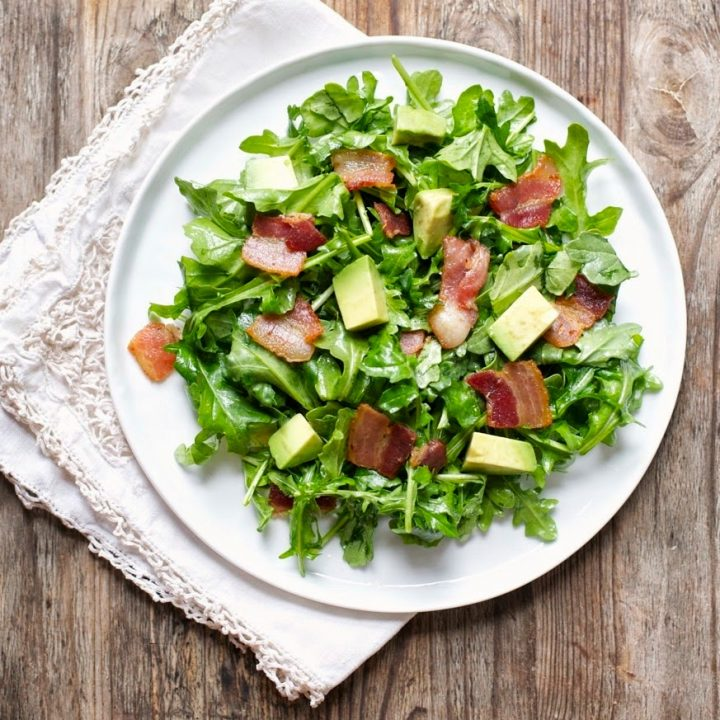 Bacon, Avocado, & Arugula Salad with Sherry Vinaigrette (Gluten free, Paleo)