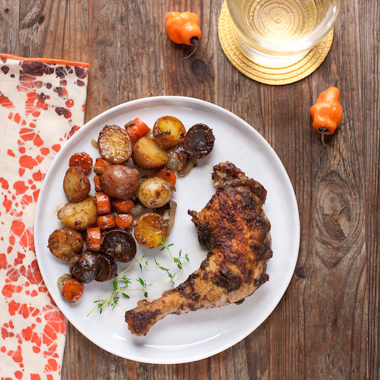 Roasted Jerk Chicken with Carrots and Potatoes (Gluten free, Paleo, Whole30) | acalculatedwhisk.com