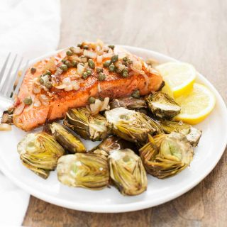 Pan-Seared Salmon with Capers and Baby Artichokes (Paleo, Whole30)