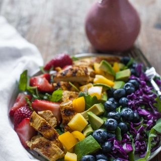 Rainbow Salad with Grilled Chicken and Raspberry Walnut Dressing (Paleo, Whole30)