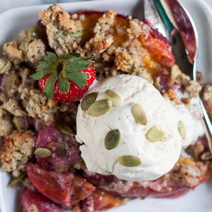 Strawberry-Peach Crisp with Hazelnut-Pepita Crumble (Gluten free, Grain free)