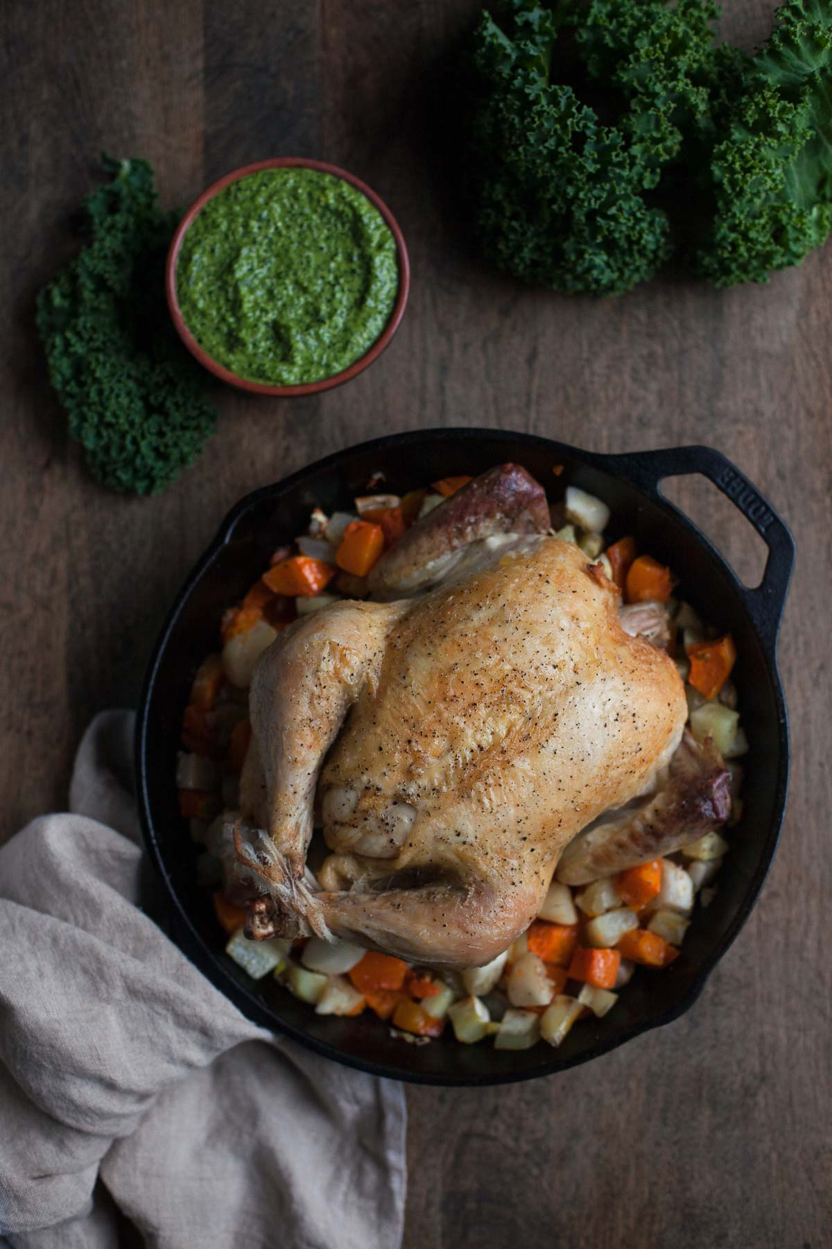 Simple Roast Chicken With Carrot Top Kale Pesto A Calculated Whisk