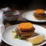 "Shrimp Burgers with Lemon Caper Relish and Sweet Potato ""Buns"" (Gluten free, Paleo, Whole30)"