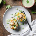 Stuffed Avocados with Shrimp and Mango + Jalapeño Aioli
