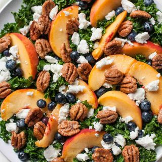 Berry Peachy Kale Salad with Candied Pecans