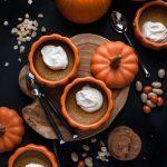 Baked Pumpkin Custards with Maple Mascarpone Whipped Cream