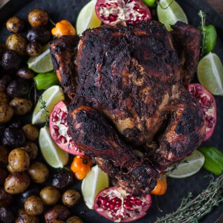Pomegranate Roasted Jerk Chicken (Gluten free, Paleo)