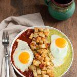 Huevos Divorciados with Sweet Potato Hash